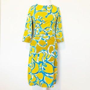 J. McLaughlin patterned dress 3/4 sleeve size M